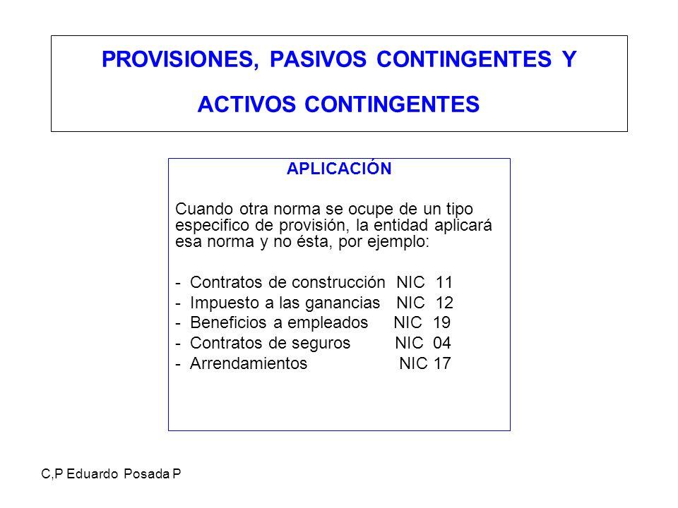 C,P Eduardo Posada P PROVISIONES, PASIVOS CONTINGENTES Y ACTIVOS CONTINGENTES APLICACIÓN Cuando otra norma se ocupe de un tipo especifico de provisión