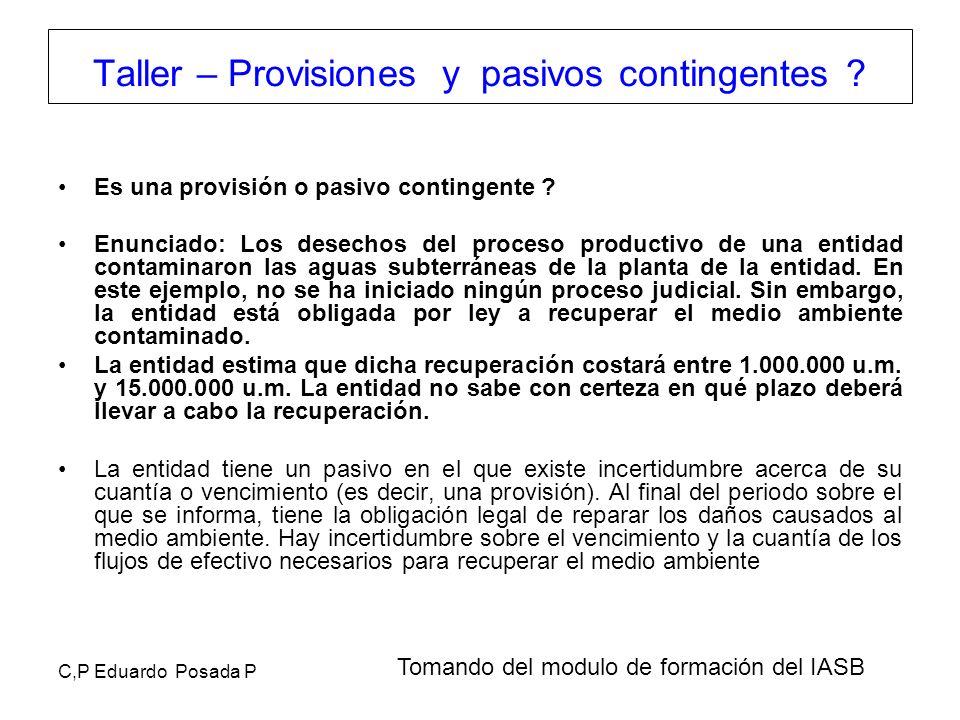 C,P Eduardo Posada P Es una provisión o pasivo contingente ? Enunciado: Los desechos del proceso productivo de una entidad contaminaron las aguas subt