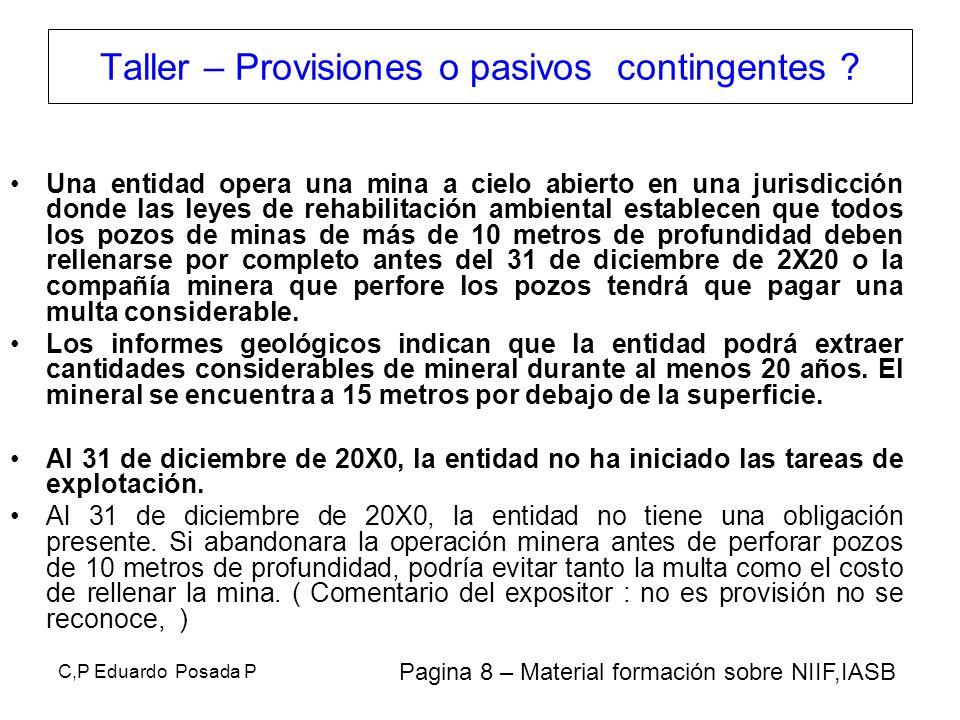 C,P Eduardo Posada P Una entidad opera una mina a cielo abierto en una jurisdicción donde las leyes de rehabilitación ambiental establecen que todos l