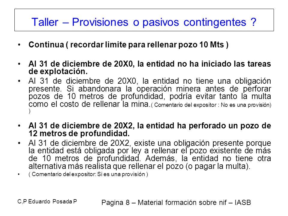 C,P Eduardo Posada P Continua ( recordar limite para rellenar pozo 10 Mts ) Al 31 de diciembre de 20X0, la entidad no ha iniciado las tareas de explot