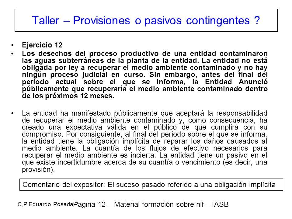 C,P Eduardo Posada P Ejercicio 12 Los desechos del proceso productivo de una entidad contaminaron las aguas subterráneas de la planta de la entidad. L