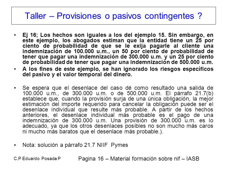 C,P Eduardo Posada P Ej 16; Los hechos son iguales a los del ejemplo 15. Sin embargo, en este ejemplo, los abogados estiman que la entidad tiene un 25