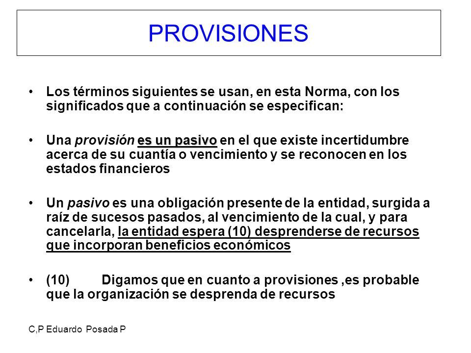 C,P Eduardo Posada P PROVISIONES Los términos siguientes se usan, en esta Norma, con los significados que a continuación se especifican: es un pasivoU