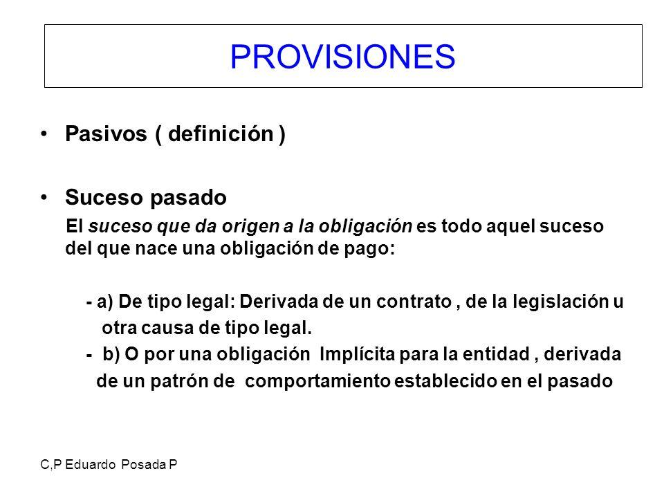 C,P Eduardo Posada P PROVISIONES Pasivos ( definición ) Suceso pasado El suceso que da origen a la obligación es todo aquel suceso del que nace una ob