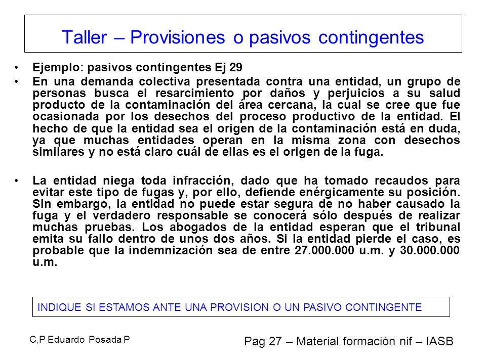 C,P Eduardo Posada P Ejemplo: pasivos contingentes Ej 29 En una demanda colectiva presentada contra una entidad, un grupo de personas busca el resarci