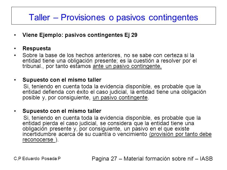 C,P Eduardo Posada P Viene Ejemplo: pasivos contingentes Ej 29 Respuesta Sobre la base de los hechos anteriores, no se sabe con certeza si la entidad