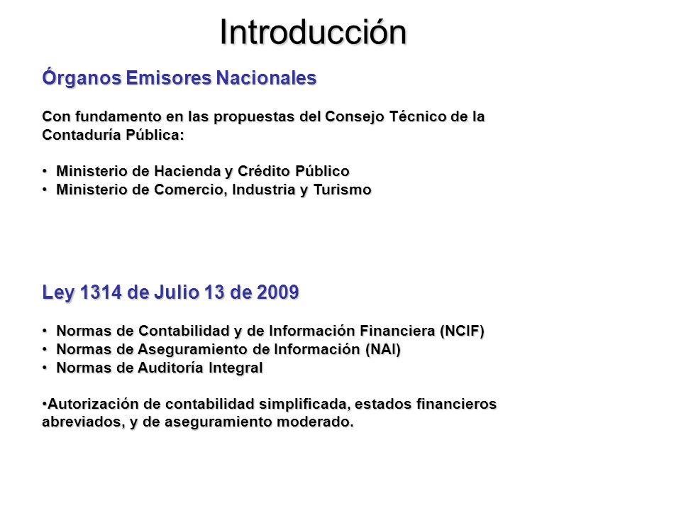 Introducción IASB Órgano Emisor Internacional (Junta de Normas Internacionales de Contabilidad) Normas Internacionales de Contabilidad NIC (International Accounting Standard IAS) 1-41 Normas Internacionales de Contabilidad NIC (International Accounting Standard IAS) 1-41 Normas Internacionales de Información Financiera, NIIF (Internacional Financial Reporting Standards IFRS) 1-8 Normas Internacionales de Información Financiera, NIIF (Internacional Financial Reporting Standards IFRS) 1-8 Comité de Interpretaciones de Estándares (Standard Interpretation Committee SIC) 1-32Comité de Interpretaciones de Estándares (Standard Interpretation Committee SIC) 1-32 Comité Internacional de Interpretaciones de Reportes Financieros (International Financial Reporting Interpretations Committee IFRIC) Comité Internacional de Interpretaciones de Reportes Financieros (International Financial Reporting Interpretations Committee IFRIC) No todas las NIC (IAS) y SIC están vigentes