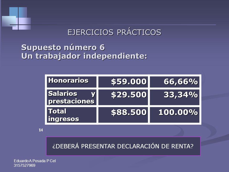 Eduardo A Posada P Cel 3157527969 13 EJERCICIOS PRÁCTICOS Supuesto número 5 Un trabajador independiente: Comisiones$59.00086,13% Salarios y prestacion
