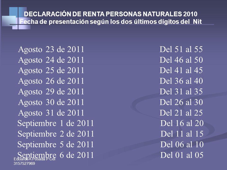 Eduardo A Posada P Cel 3157527969 DECLARACIÓN DE RENTA PERSONAS NATURALES 2010 Fecha de presentación según los dos últimos dígitos del Nit Agosto 9 de
