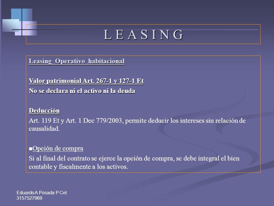 Eduardo A Posada P Cel 3157527969 1-VALOR PATRIMONIAL. Valor saldos en sección patrimonio 2-COSTO FISCAL Costo en caso de venta