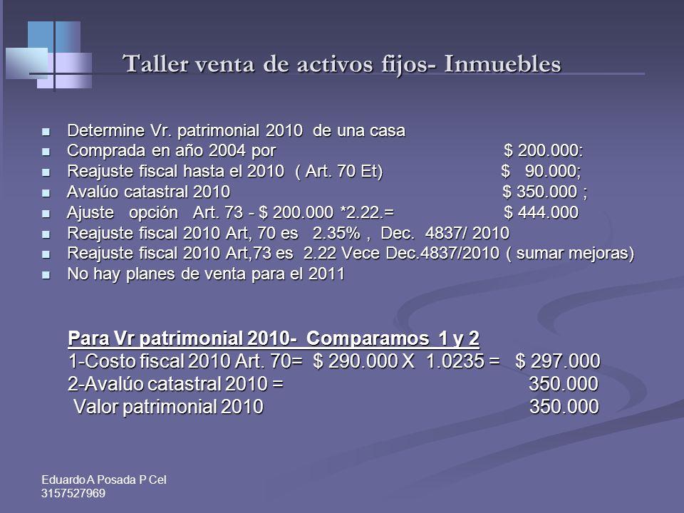 Eduardo A Posada P Cel 3157527969 Acciones, vehículos y otros muebles R.32 -Valor Patrimonial R.32 -Valor Patrimonial Es el costo fiscal (formado u op