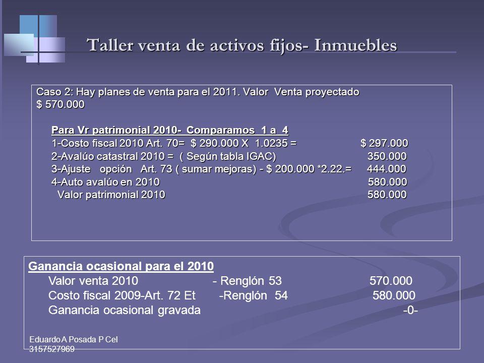Eduardo A Posada P Cel 3157527969 Taller venta de activos fijos- Inmuebles Determine Vr. patrimonial 2010 de una casa Determine Vr. patrimonial 2010 d