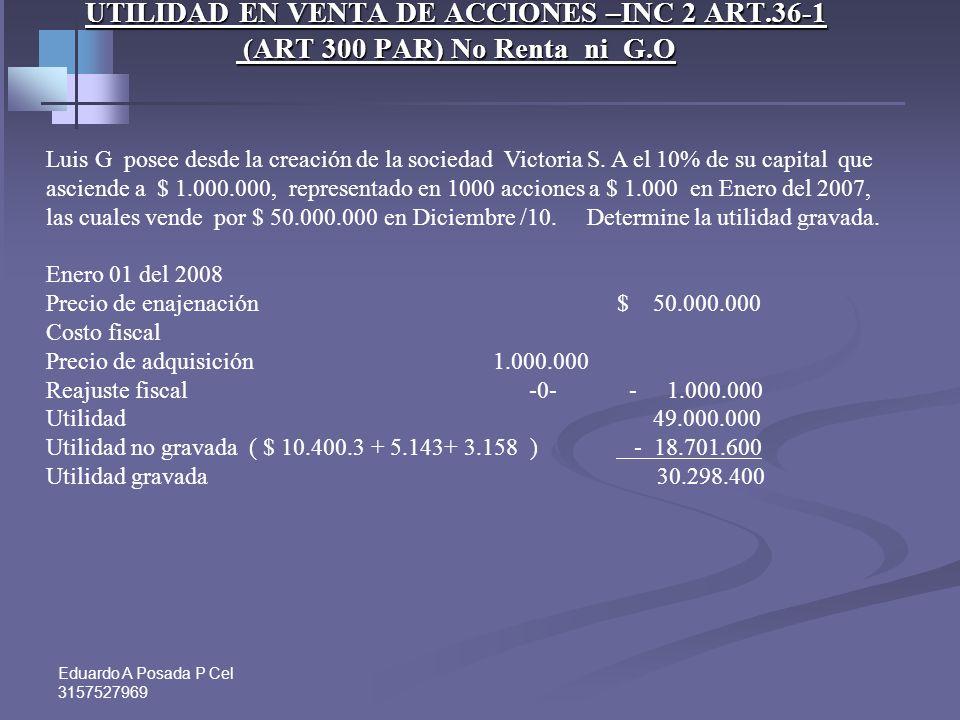 Eduardo A Posada P Cel 3157527969 UTILIDAD EN VENTA DE ACCIONES –INC 2 ART.36-1 (ART 300 PAR) No Renta ni G.O INSCRITAS EN BOLSAS DE VALORES ( G.O 2 o