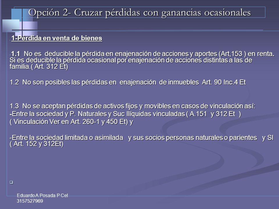 Eduardo A Posada P Cel 3157527969 Pérdidas Fiscales 1-Pérdidas en Venta de Bienes – Art. 90,149 del Et y 352 derog.Et 1-Pérdidas en Venta de Bienes –