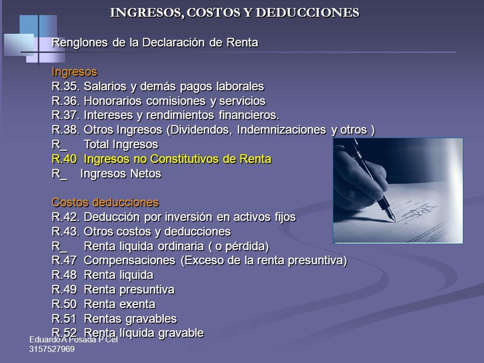 Eduardo A Posada P Cel 3157527969INGRESOS Realización: del Ingreso: Art. 27 y 28 Et. Regla general: Sistema de Caja. Se entienden realizados cuando se