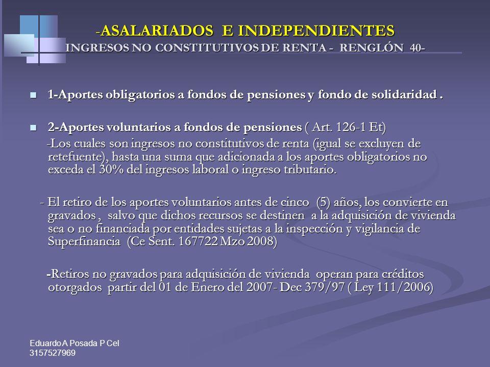 Eduardo A Posada P Cel 3157527969 INGRESOS, COSTOS Y DEDUCCIONES Renglones de la Declaración de Renta Ingresos R.35. Salarios y demás pagos laborales