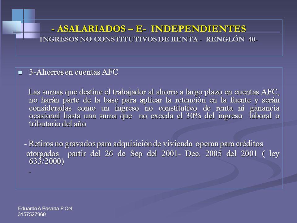 Eduardo A Posada P Cel 3157527969 -ASALARIADOS E INDEPENDIENTES INGRESOS NO CONSTITUTIVOS DE RENTA - RENGLÓN 40- 1-Aportes obligatorios a fondos de pe