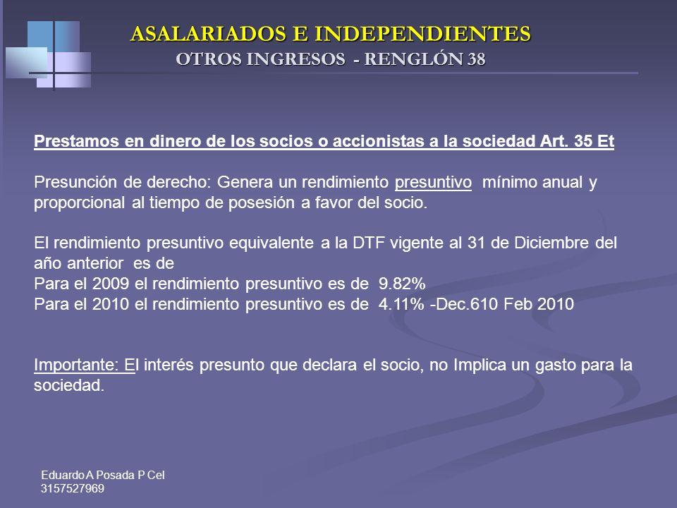 Eduardo A Posada P Cel 3157527969 - ASALARIADOS – Aportes voluntarios a fondos de pensiones y retención contingente Ingreso total 6.000.000 6.000.000