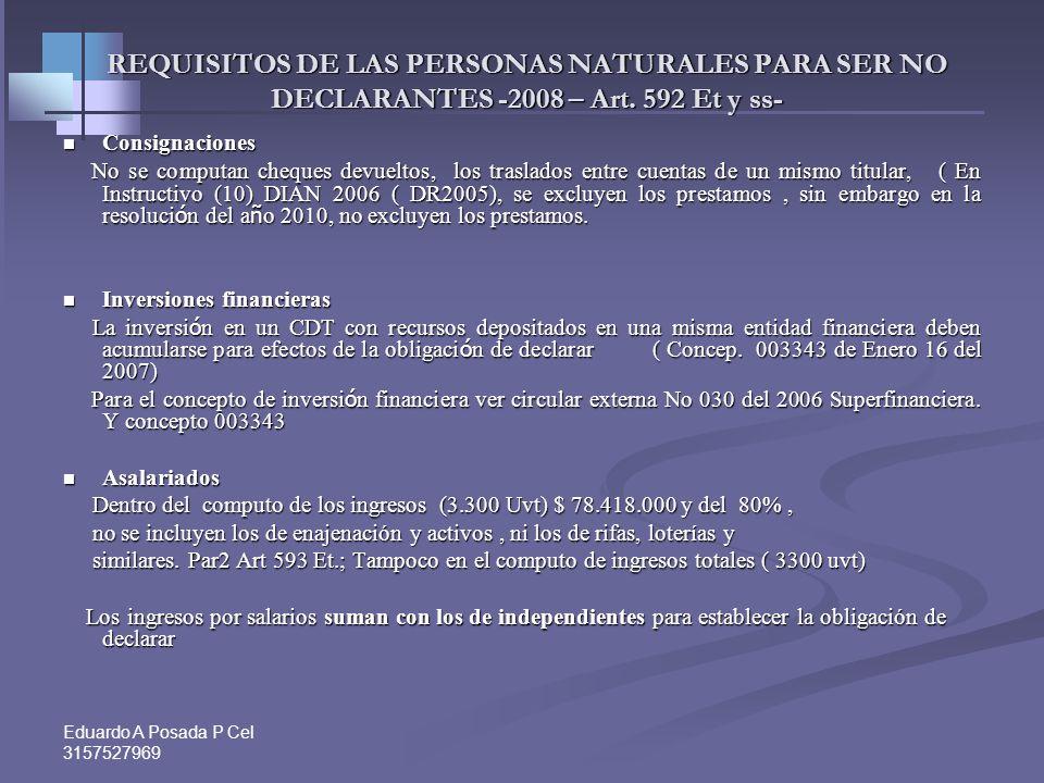 Eduardo A Posada P Cel 3157527969 REQUISITOS DE LAS PERSONAS NATURALES PARA SER NO DECLARANTES -2008 – Art.