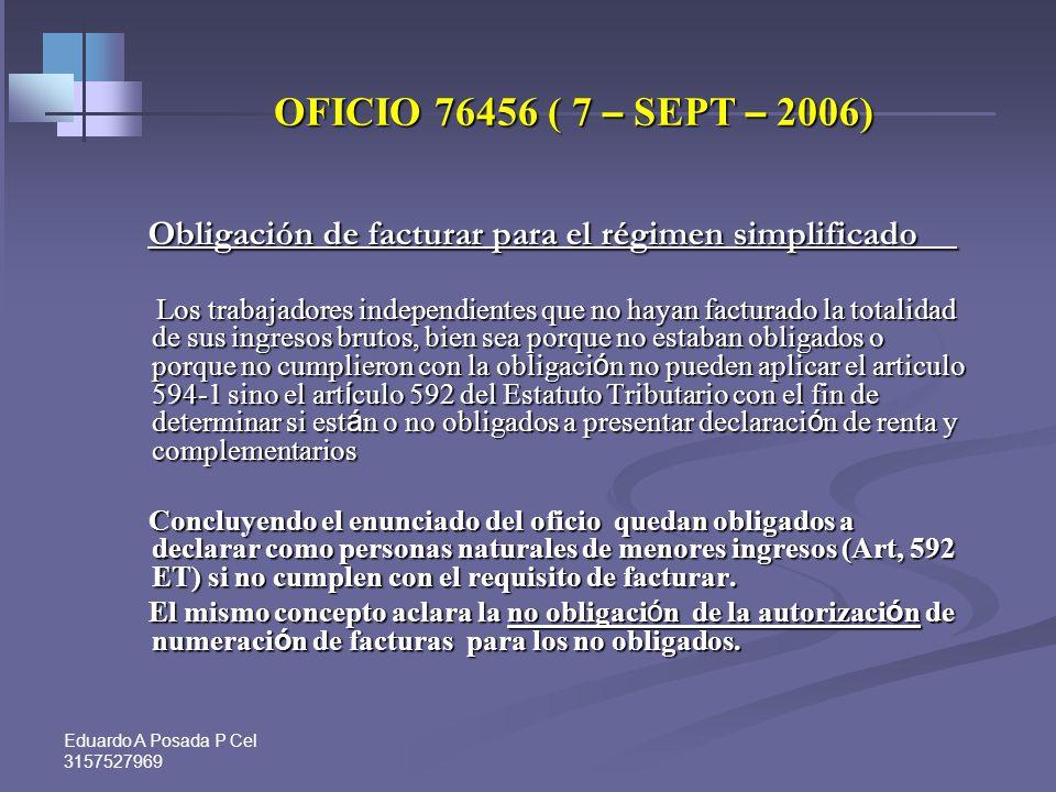 Eduardo A Posada P Cel 3157527969 Régimen simplificado frente a la obligación de declarar.