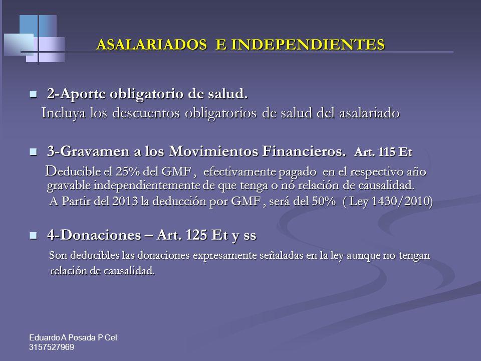 Eduardo A Posada P Cel 3157527969 ASALARIADOS E INDEPENDIENTES Intereses o corrección monetaria por préstamos para adquisición de vivienda pagados en