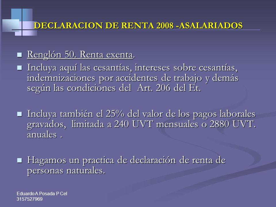 Eduardo A Posada P Cel 3157527969 ASALARIADOS E INDEPENDIENTES 2-Aporte obligatorio de salud. 2-Aporte obligatorio de salud. Incluya los descuentos ob