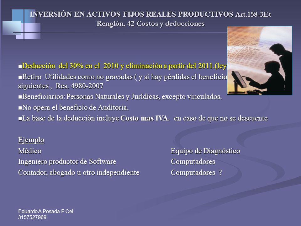 Eduardo A Posada P Cel 3157527969 DECLARACION DE RENTA 2008 - PROFESIONALES INDEPENDIENTES Y COMISIONISTAS. Renglón 43. Otros costos y deducciones. 2-