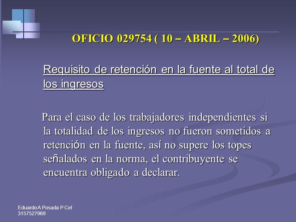 Eduardo A Posada P Cel 3157527969 OFICIO 76456 ( 7 – SEPT – 2006) Obligación de facturar para el régimen simplificado Obligación de facturar para el r