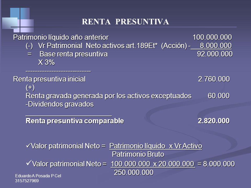 Eduardo A Posada P Cel 3157527969 RENTA PRESUNTIVA Renta presuntiva Art. 188 Et y ss Presunción de que la renta del contribuyente no es inferior al 3%