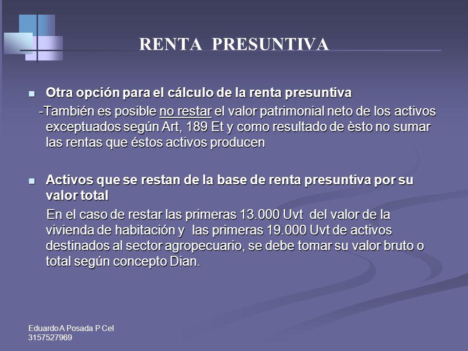 Eduardo A Posada P Cel 3157527969 RENTA PRESUNTIVA Activos exceptuados:-Art. 189 Et, Valor patrimonial neto de los aportes y acciones poseídos en soci