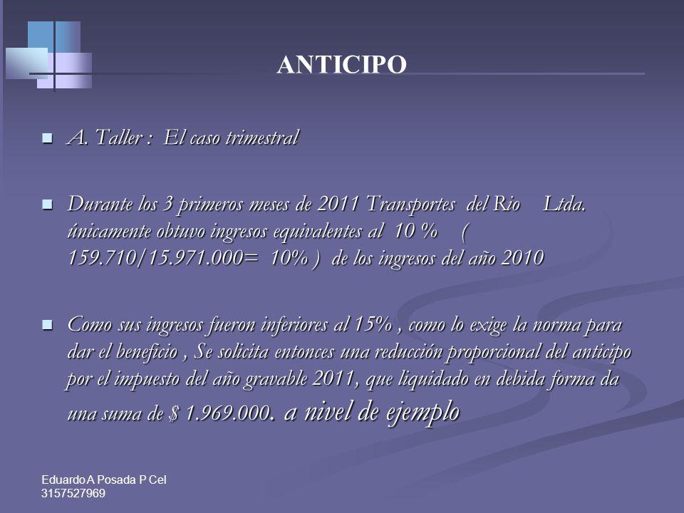 Eduardo A Posada P Cel 3157527969 ANTICIPO Si se dan las condiciones establecidas en los artículos 808 a 810 del Estatuto Tributario, se podrá solicit