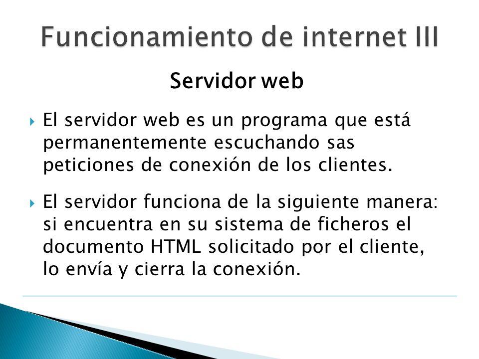 Servidor web El servidor web es un programa que está permanentemente escuchando sas peticiones de conexión de los clientes. El servidor funciona de la