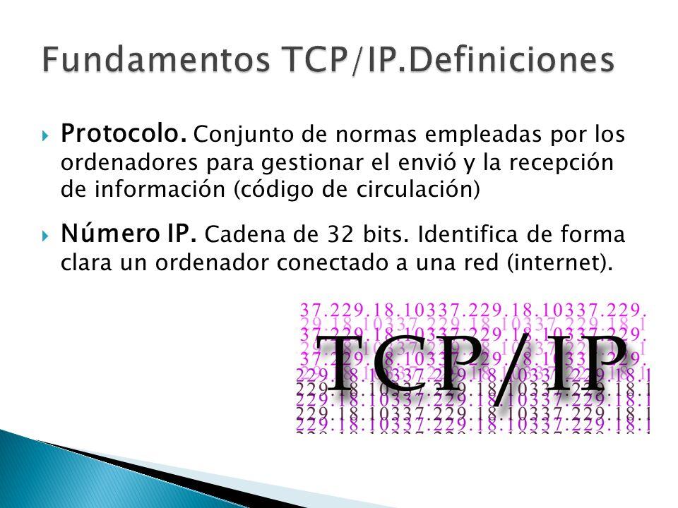 Protocolo. Conjunto de normas empleadas por los ordenadores para gestionar el envió y la recepción de información (código de circulación) Número IP. C