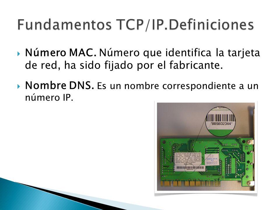 Nombre DNS. Es un nombre correspondiente a un número IP. Número MAC. Número que identifica la tarjeta de red, ha sido fijado por el fabricante.