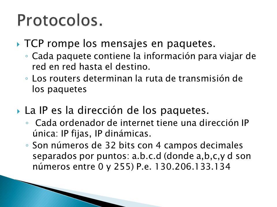 TCP rompe los mensajes en paquetes. Cada paquete contiene la información para viajar de red en red hasta el destino. Los routers determinan la ruta de