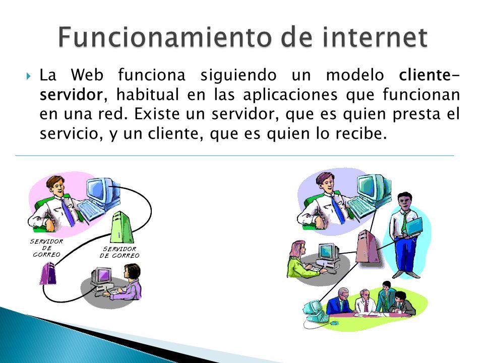 La Web funciona siguiendo un modelo cliente- servidor, habitual en las aplicaciones que funcionan en una red. Existe un servidor, que es quien presta