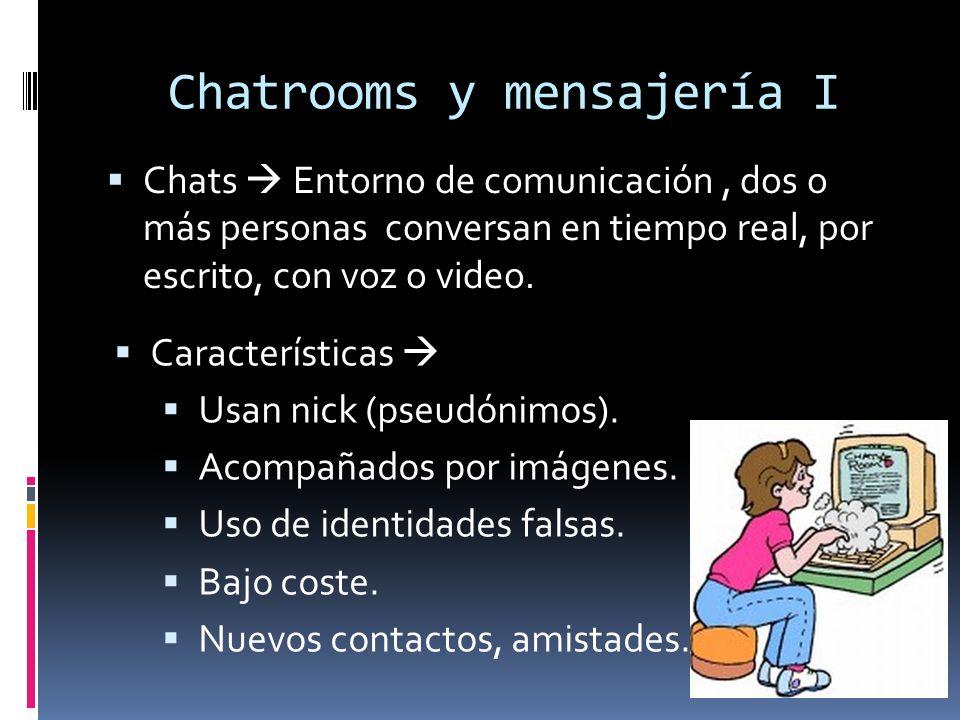 Chatrooms y mensajería I Chats Entorno de comunicación, dos o más personas conversan en tiempo real, por escrito, con voz o video.