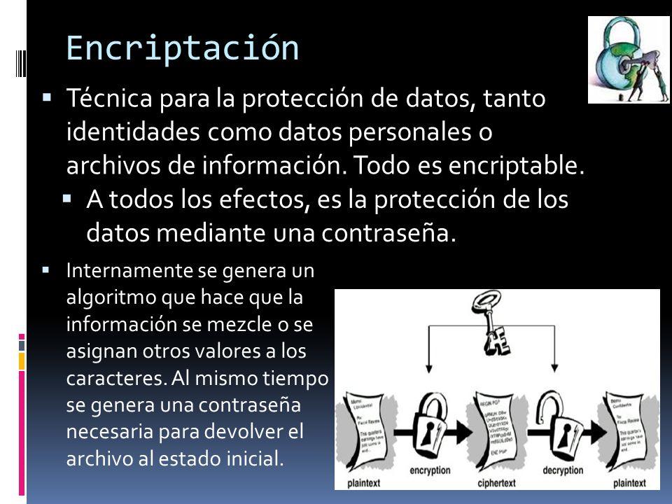 Encriptación Técnica para la protección de datos, tanto identidades como datos personales o archivos de información.