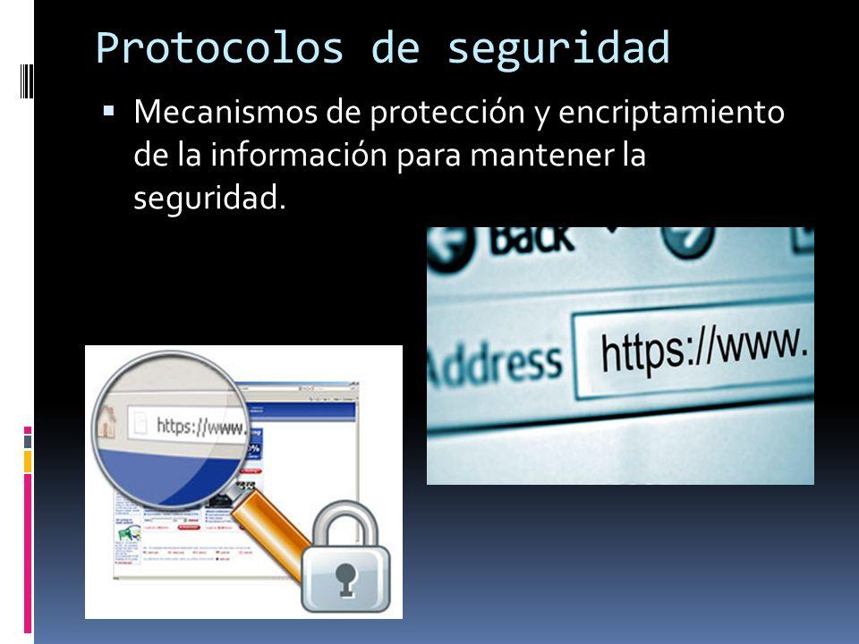 Protocolos de seguridad Mecanismos de protección y encriptamiento de la información para mantener la seguridad.