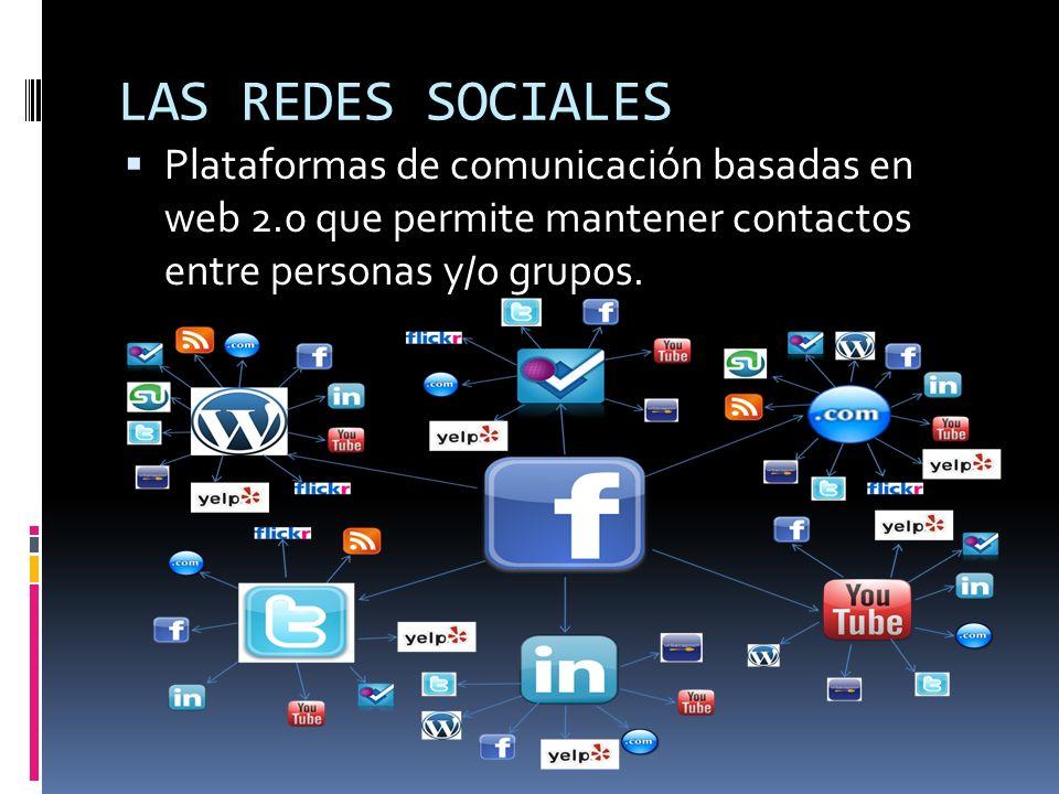 LAS REDES SOCIALES Plataformas de comunicación basadas en web 2.0 que permite mantener contactos entre personas y/o grupos.