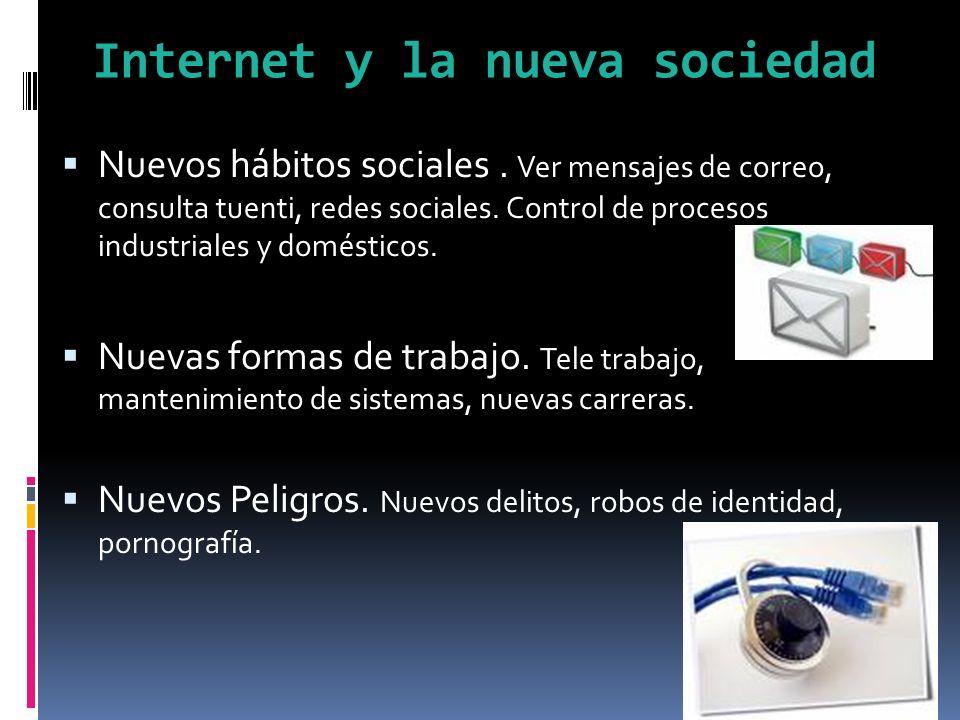 Internet y la nueva sociedad Nuevos hábitos sociales.