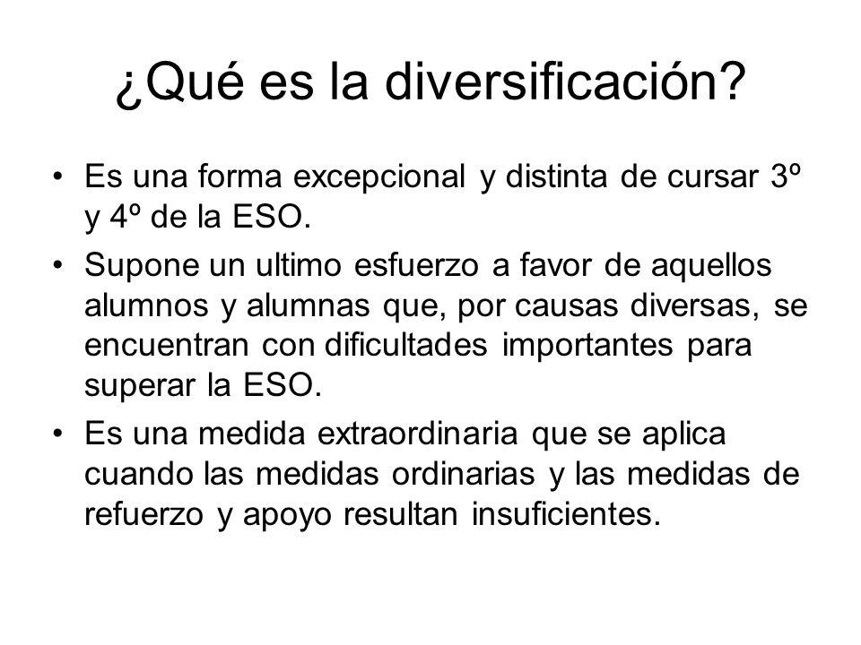 ¿Qué es la diversificación? Es una forma excepcional y distinta de cursar 3º y 4º de la ESO. Supone un ultimo esfuerzo a favor de aquellos alumnos y a