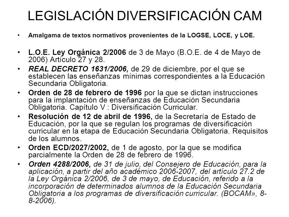 LEGISLACIÓN DIVERSIFICACIÓN CAM Amalgama de textos normativos provenientes de la LOGSE, LOCE, y LOE. L.O.E. Ley Orgánica 2/2006 de 3 de Mayo (B.O.E. d