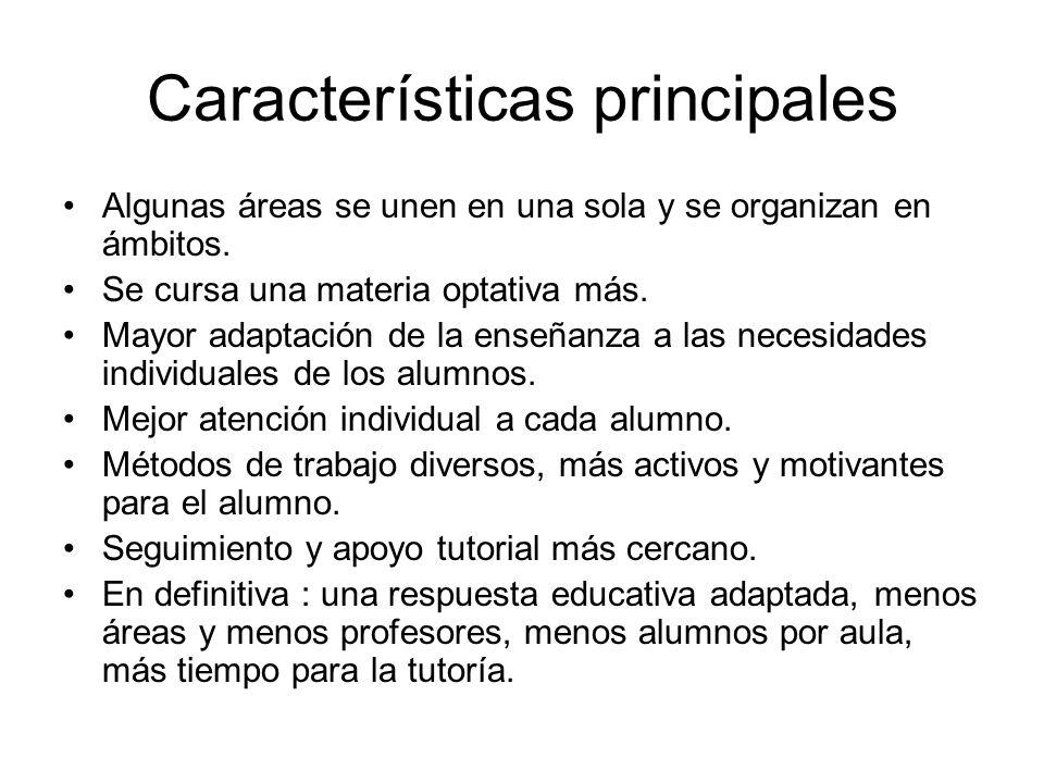 Características principales Algunas áreas se unen en una sola y se organizan en ámbitos. Se cursa una materia optativa más. Mayor adaptación de la ens