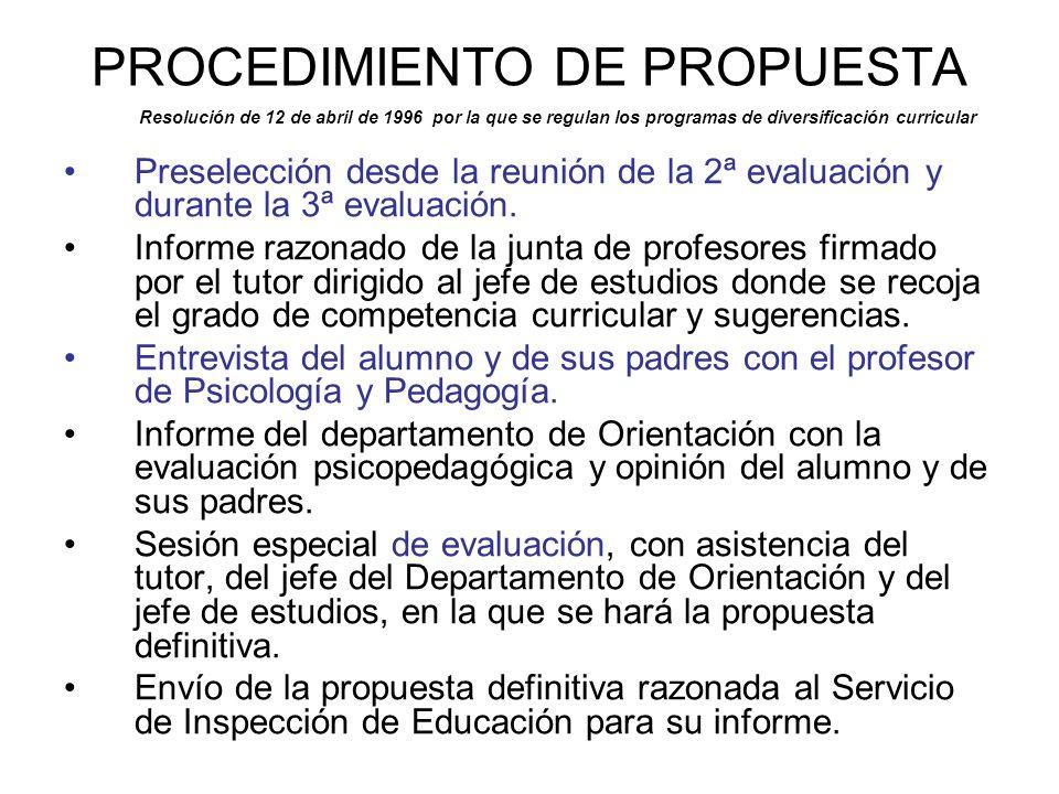 PROCEDIMIENTO DE PROPUESTA Resolución de 12 de abril de 1996 por la que se regulan los programas de diversificación curricular Preselección desde la r