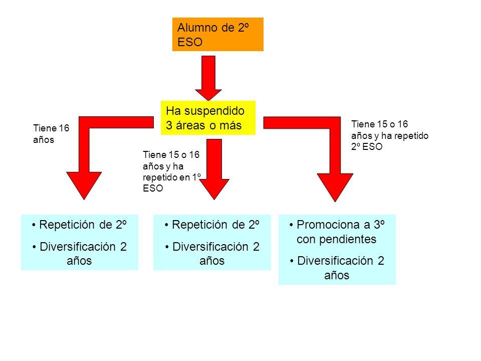 Alumno de 2º ESO Ha suspendido 3 áreas o más Tiene 16 años Repetición de 2º Diversificación 2 años Tiene 15 o 16 años y ha repetido en 1º ESO Tiene 15