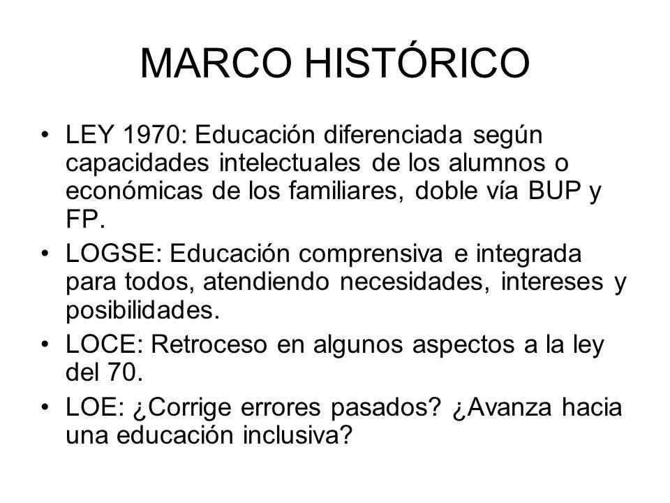 MARCO HISTÓRICO LEY 1970: Educación diferenciada según capacidades intelectuales de los alumnos o económicas de los familiares, doble vía BUP y FP. LO