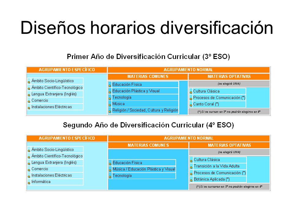 Diseños horarios diversificación
