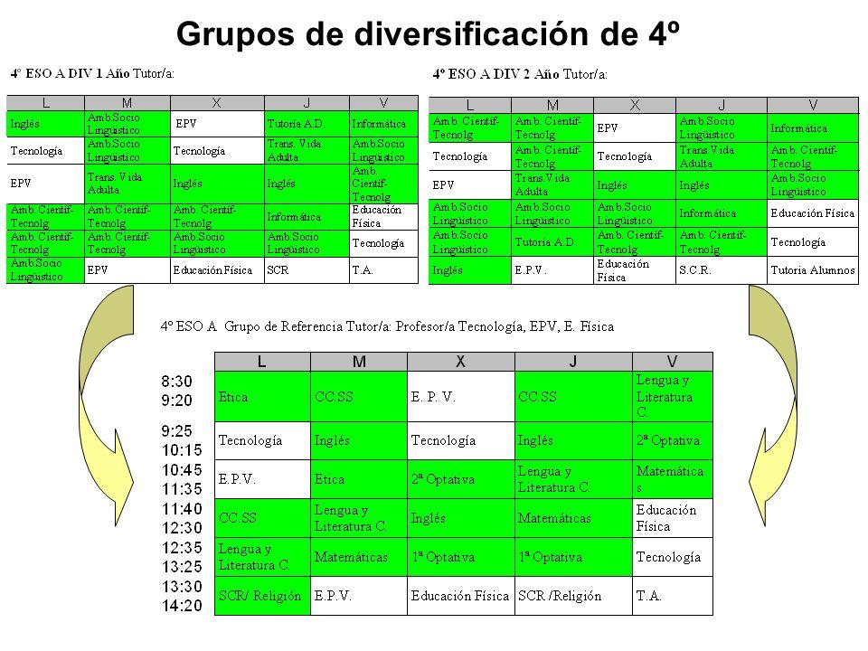 Grupos de diversificación de 4º