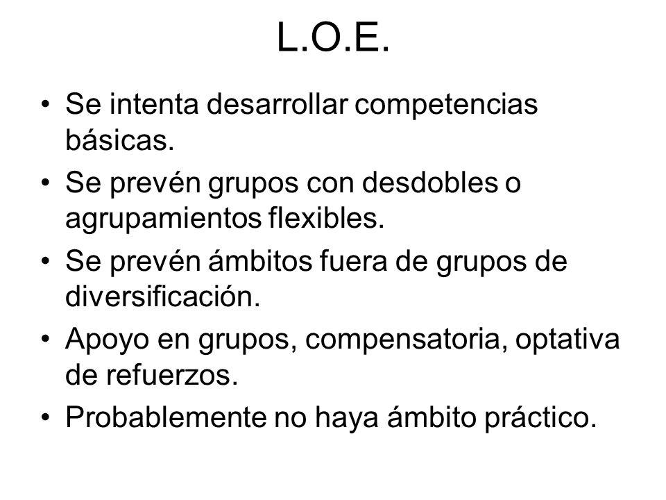 L.O.E. Se intenta desarrollar competencias básicas. Se prevén grupos con desdobles o agrupamientos flexibles. Se prevén ámbitos fuera de grupos de div